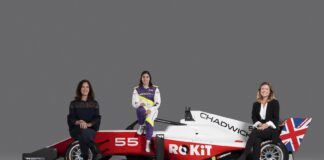 Catherine Bond Muir (W Series CEO), Jamie Chadwick (W Series 2019 Champion) and Fern Townend (ROKiT Global Sponsorship Manager), racingline.hu