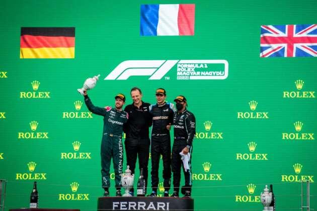 Esteban Ocon, Sebastian Vettel, Lewis Hamilton, Laurent Rossi