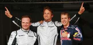 Rubns Barrichello, Jenson Button, Sebastian Vettel