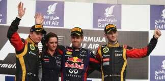 Kimi Raikkonen, Gill Jones, Sebastian Vettel and Romain Grosjean - Winners